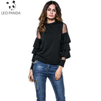 Spring Summer New Fashion Europe America Stand Collar Net Yarn Joining Together Falbala Horn Sleeve Long