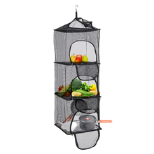 3 Layers Vegetable Fish Dishes Mesh Hanging Dry Net Portable Collapsible Drying Rack Shelf Basket with Storage Bag Outdoor