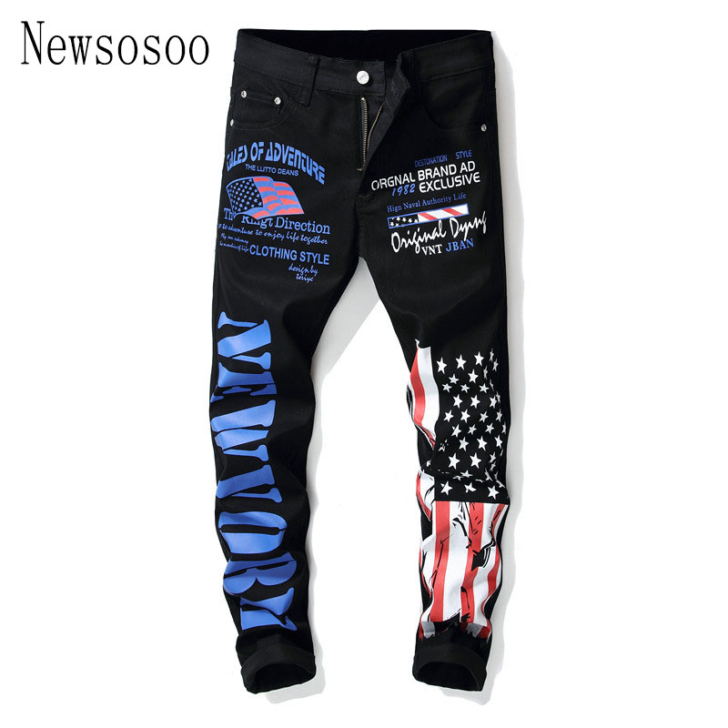 European American style fashion brand Men's slim   jeans   Straight luxury trousers black casual zipper print   jeans   pants for men
