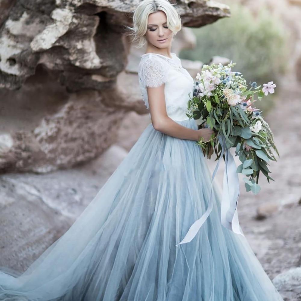 Sky Blue Lace Bride Dress Short Sleeves A-line Romantic Wedding Dress Vestidos De Novia 2019 Cheap High Quality Wedding Gown