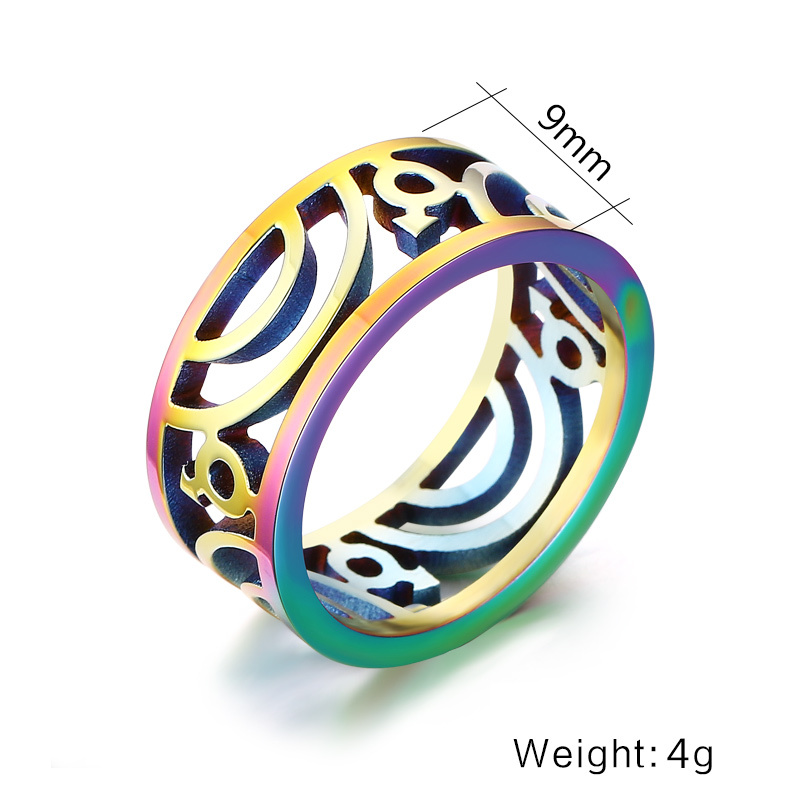 9mm Wide Stainless Steel Rings Wholesale Gay Pride Wedding Rings for Men Jewelry with Rainbow Color Plated US size 7 to 13