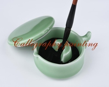 1pc Porcelain Ink Box Brush Rest With Lid Calligraphy Painting Sumi-e Tool