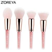 Zoreya Brand 4pcs Set Patent Make Up Blush Brushes With Pink Color Foundation And Countour Makeup