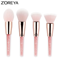 Zoreya Brand 4pcs Set Patent Make Up Blush Brushes With Pink Color Foundation And Countour Makeup
