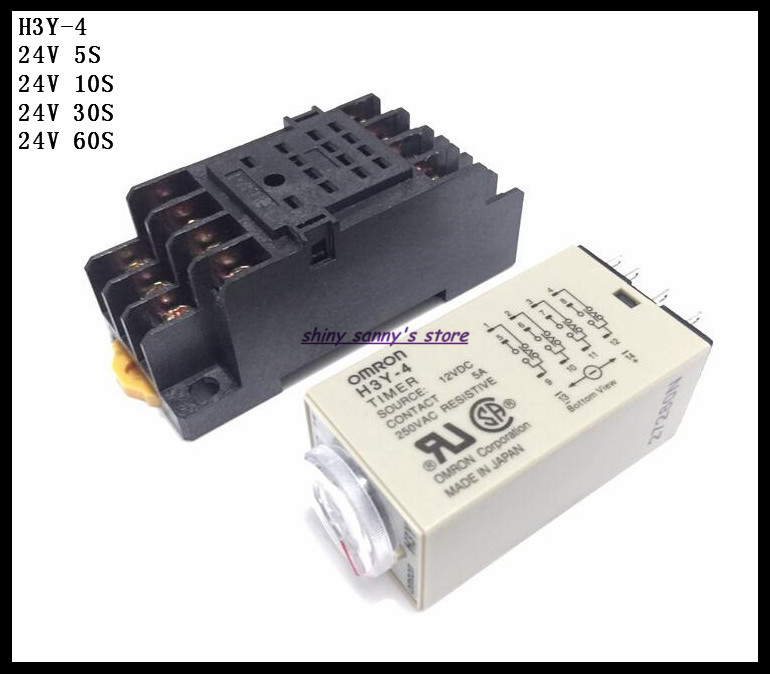 2 Sets/Lot H3Y-4 DC24V 5S/10S/30S/60S Delay Timer Time Relay 0-5/10/30/60 Seconds 24VDC & PYF14A Socket Base Brand New dhl ems 5 lots new om ron timer relay h3dk m1 h3dkm1 24 240vac dc e1