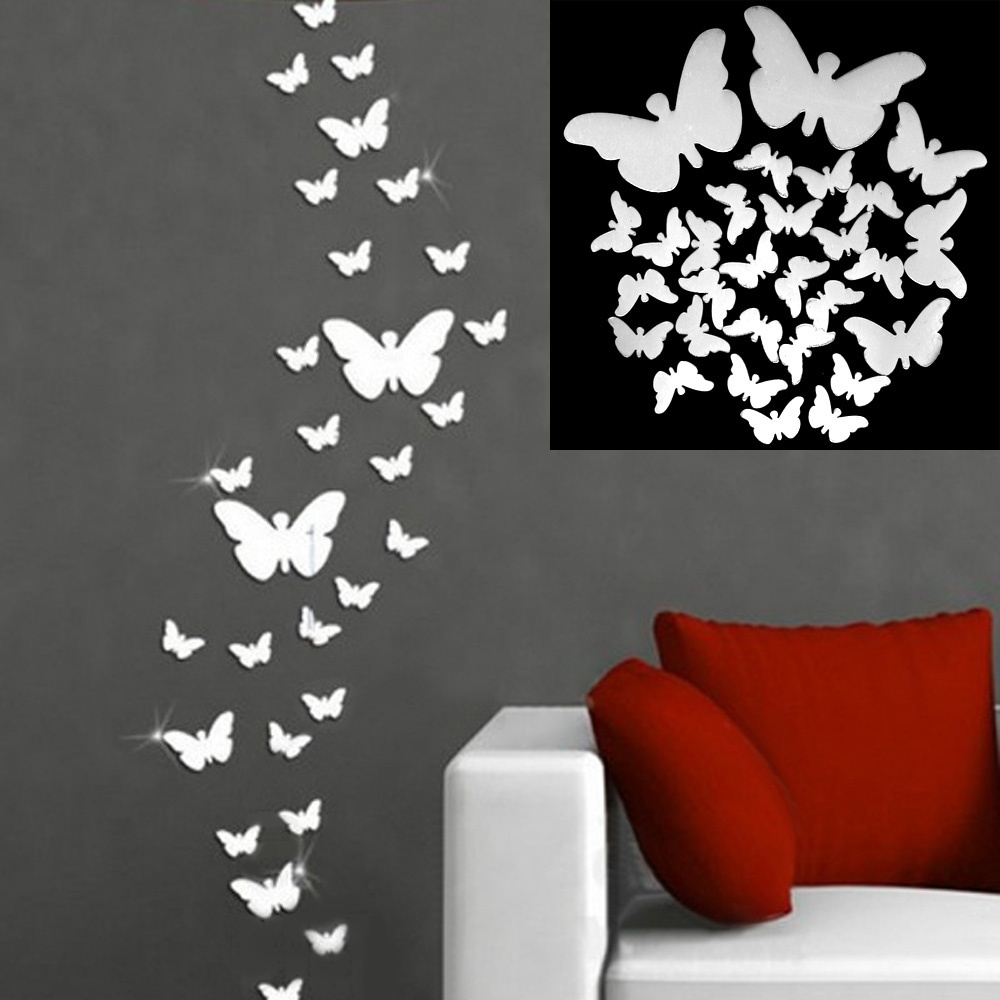 online get cheap wall art decals aliexpress com alibaba group diy newest 12 pcs 3d mirror silver butterfly wall stickers decal wall art removable homer party