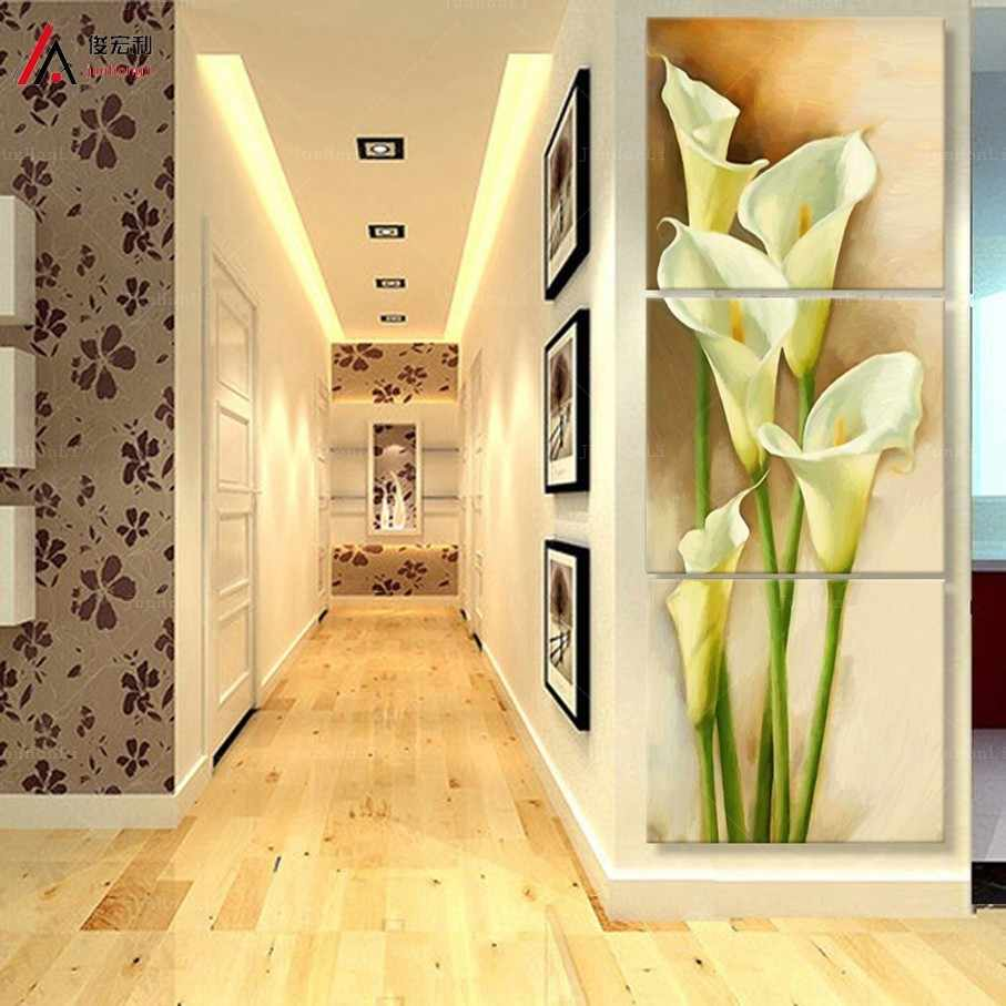 3 pieces art painting canvas print corridor effect calla picture print vertical wall forms for living room photo Free shipping