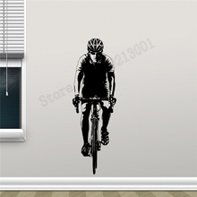 Bicyclist Wall Decoration Boys Man Active Sports Bodybuilding Decals Vinyl Art Removeable Mural Poster Gym Sticker LY870