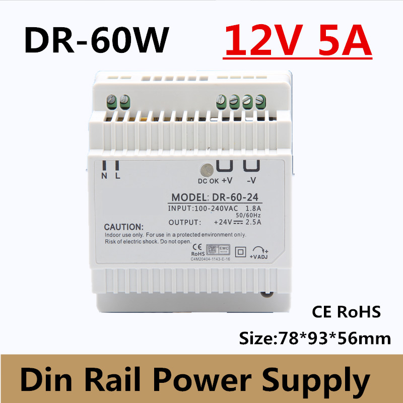 (DR-60-12) Free Shipping CE RoHS Certificated 60w 12v 5A Din Rail Switching Power Supply For Industry ac-dc 12v 5a power supply industrial grade dual power 12v 12v power supply d 60c dc dual output power supply 12v 2 5a 12v 2 5a 100 240v