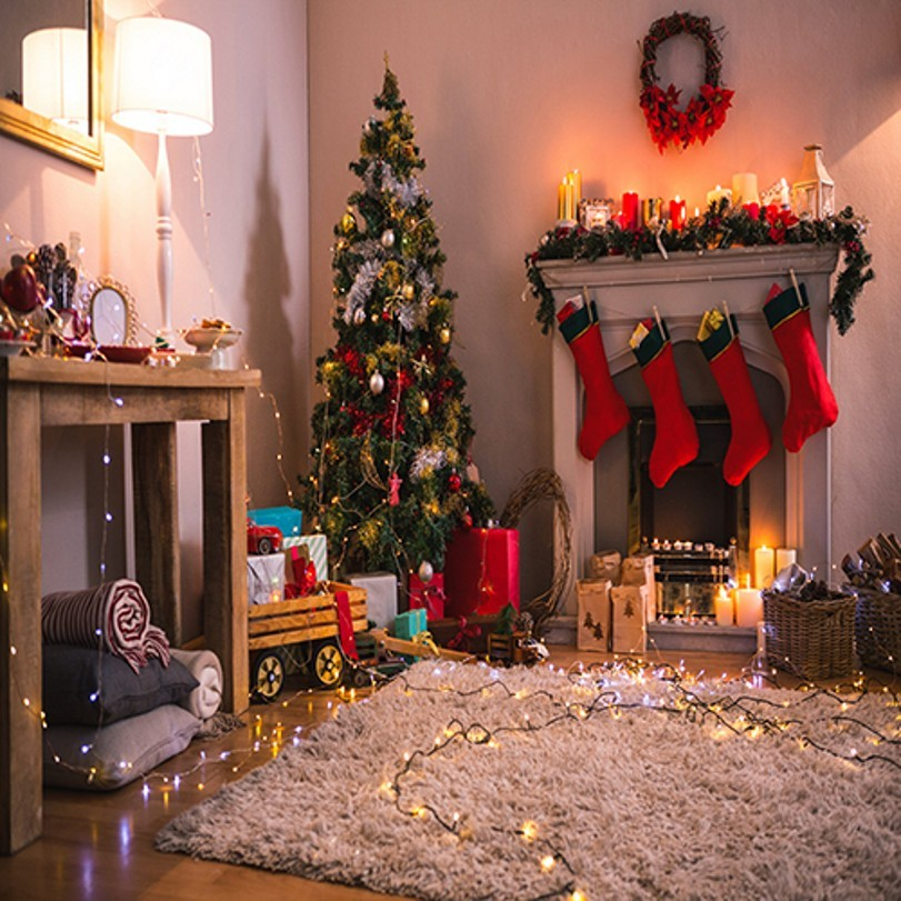 Decorations Tree Fireplace Lights Picture backdrop High-quality Vinyl cloth Computer printed christmas  Background white 3d decorations xmas tree hall fireplace room backdrops vinyl cloth computer printed christmas photo studio background