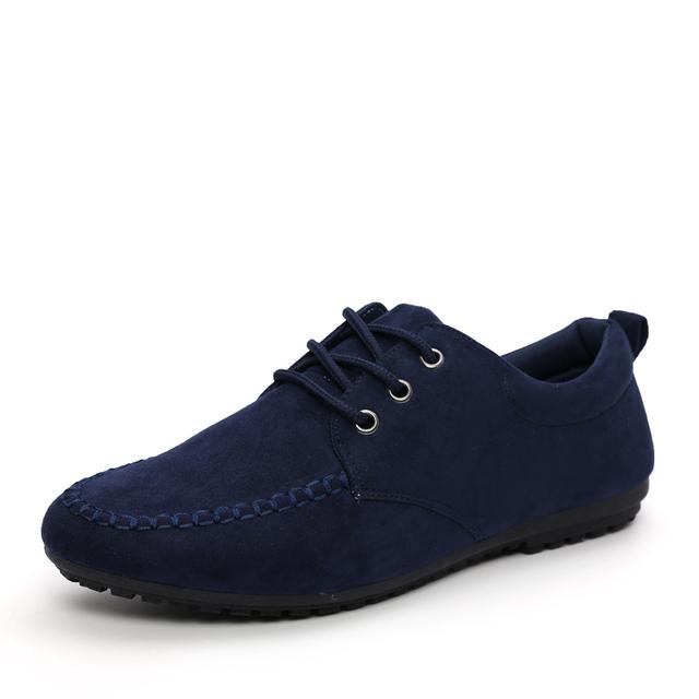 Primavera Verão 2017 Homens Apartamentos Sapatos Casuais Moda estilo Britânico Lace-Up Sapatos de Lona respirável Sapatos de camurça dos homens sapatos de causalidade