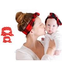 Women Hairbands Mama Baby Girl Plaid Dots Rabbit Ears Newborn Headband Turban Bow Knot Head Wrap