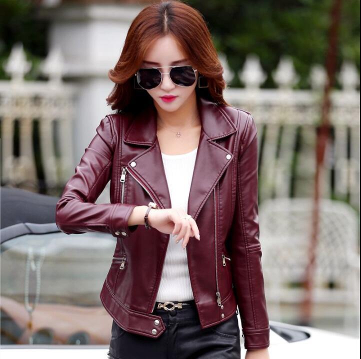 Cheap 2020 spring autumn diagonal zipper leather jacket women short pu coat mujer casacas para chamarras de veste femme jaqueta