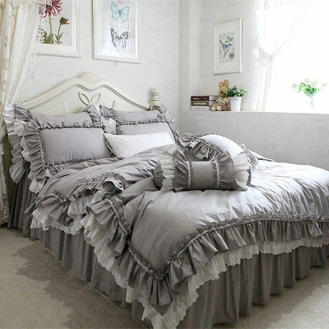 Neue Europäische Grau Bettwäsche Set Großen Rüsche Spitze Bettbezug