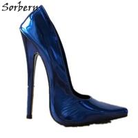 Sorbern Blue Shoes High Heels Pump Women Heels 18Cm Stilettos Slip On Pointy Toe Designer Heels Metallic Night Club Dance Heels