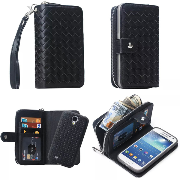 imágenes para Magnética 2 en 1 Caja de Cuero de la Cremallera Monedero Cubierta Del Teléfono Para Samsung Galaxy S4 i9500 Cubierta Trasera Extraíble