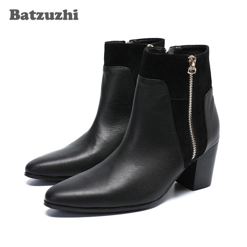 Batzuzhi 7.5cm High Heels Boots Men Genuine Leather Dress Boots Ankle Zip Pointed Toe Botas Hombre Party Gentlemen, Big US6-12Batzuzhi 7.5cm High Heels Boots Men Genuine Leather Dress Boots Ankle Zip Pointed Toe Botas Hombre Party Gentlemen, Big US6-12