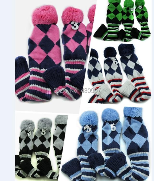 Online Shop 3PCS 1 3 5 Pom Pom Head Covers Knit Sock Navy Golf Club ...