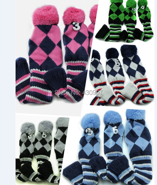 3pcs 1 3 5 Pom Pom Head Covers Knit Sock Navy Golf Club Cover