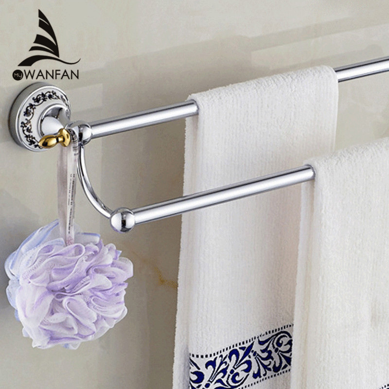 60CM Towel Bars Chrome Finish Metal Material 2 Rail Towel Holder Hanger Shelf Ceramic Bathroom Accessories Wall Shelves ST-6711 1pcs adjustable brush finish metal shelf holder support clamp for bathroom wall glass shelves panel