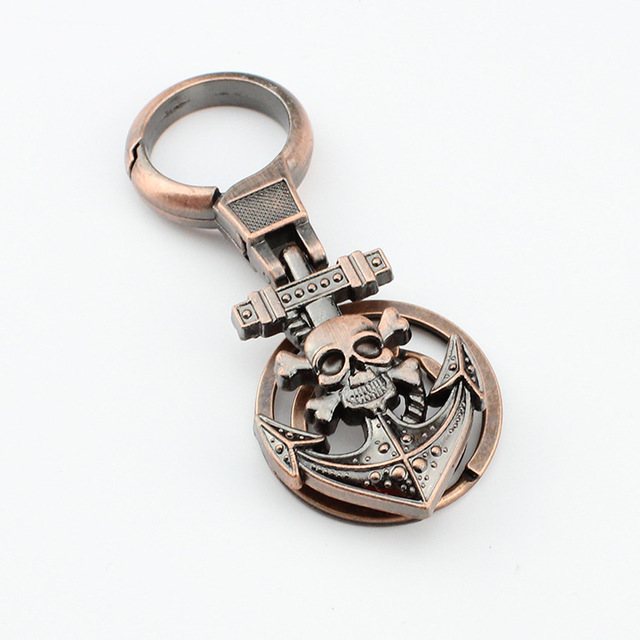 KE174 1X Cool Punk PU Leather Vintage Skull Keychain Pirate Key Ring Chain Keyfob Keyring