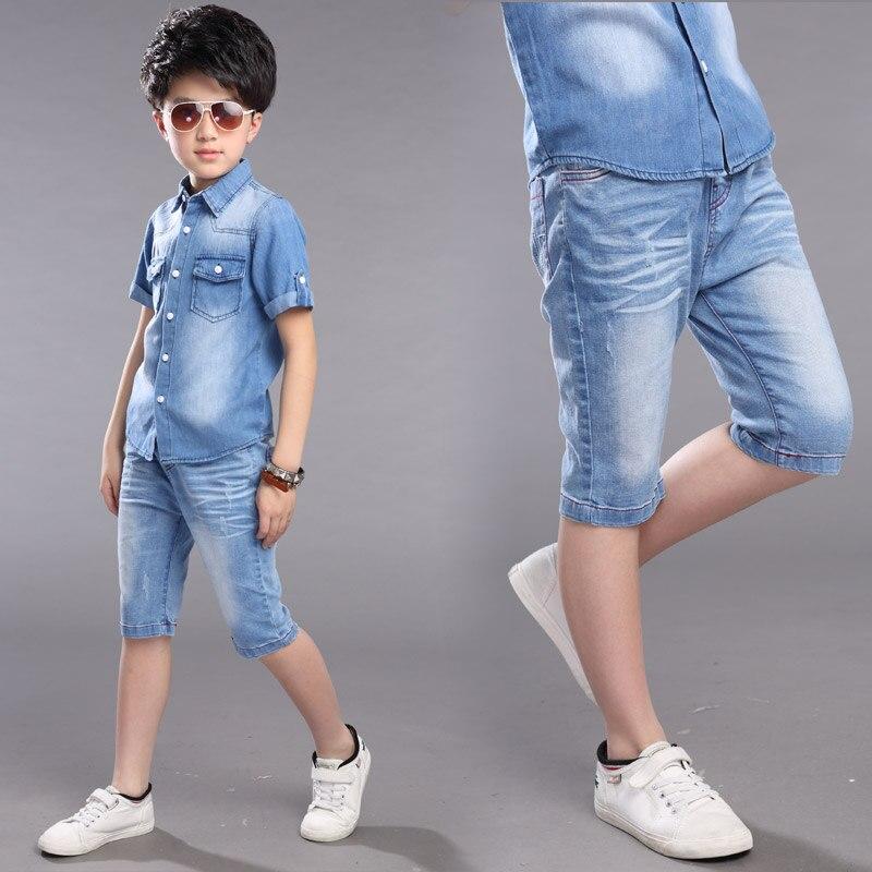 Одежда для мальчиков комплект летней одежды для мальчиков 2 шт. ковбойская рубашка + шорты для мальчиков-подростков Повседневная рубашка на...