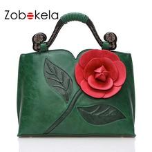 ZOBOKELA Women Messenger Bags female Women Leather Handbags Famous Brand 3D Flowers women Shoulder crossbody bags