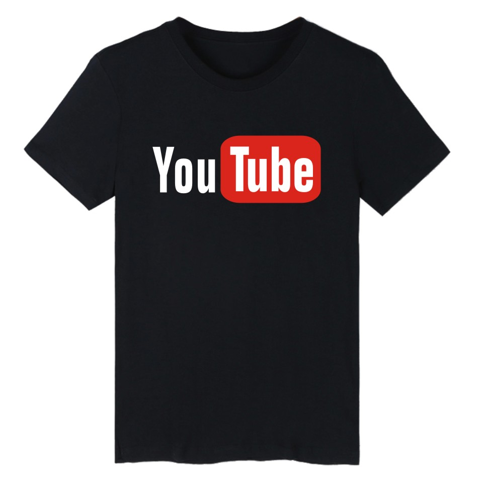 Funny Youtube Logo Black Printed Cotton   T  -  shirt   Men with 4XL You Tube Men   T     Shirt   Luxury Brand in Tee   Shirt   long Tops Couple