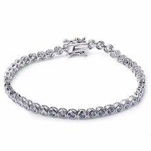 SuperDeals Envío Libre Caliente de la venta Solo filamento Sintético Clásico Cubic zirconia pulsera de Cristal de novia joyería de la boda