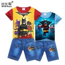bibihou red boy sport suit batman jean Toddler suit for boy Clothing Set spiderman Cotton boys shorts fashion child kids clothes