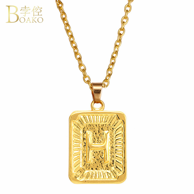 BOAKO English Alphabet Pendant Necklace A-Z Square Gold Medal Capital Letter for Women Men Hip Hop Jewelry Best Gifts