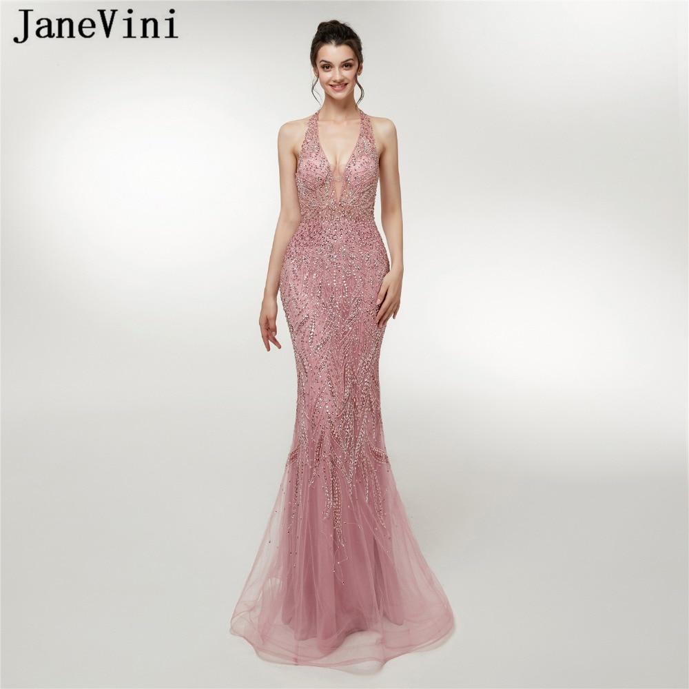 e55a736fb JaneVini encantador vestido de graduación de lujo con cuentas de cristal  Dubai tul vestidos de dama ...