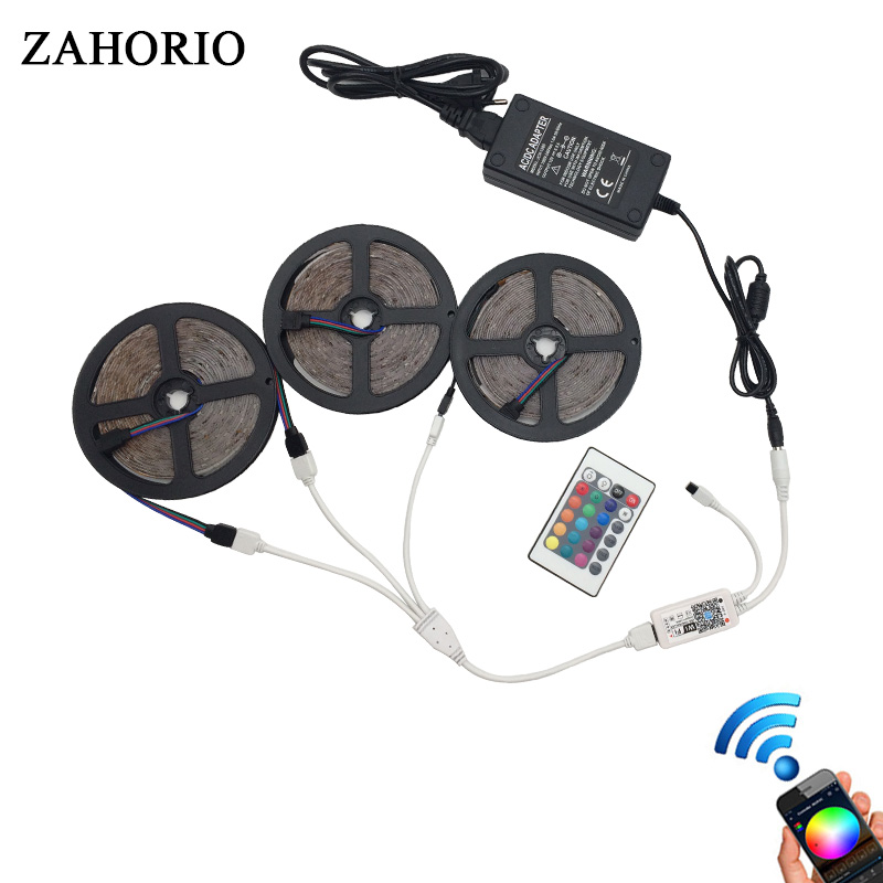 5M 10M 15M RGB WIFI LED Strip Remote 2835 3528 60leds/M Waterproof LED Light Tape Flexible diode String set+DC12V Power Adapter
