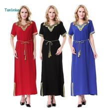 tonlinker new short sleeve arab elegant abaya kaftan islamic fashion muslim dress clothing women dubai plus size s-3xL