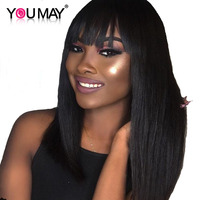 13X6 Lace Front Human Hair Wigs With Bang 150% Density Brazilian Straight Lace Front Wigs For Women You May Remy Hair