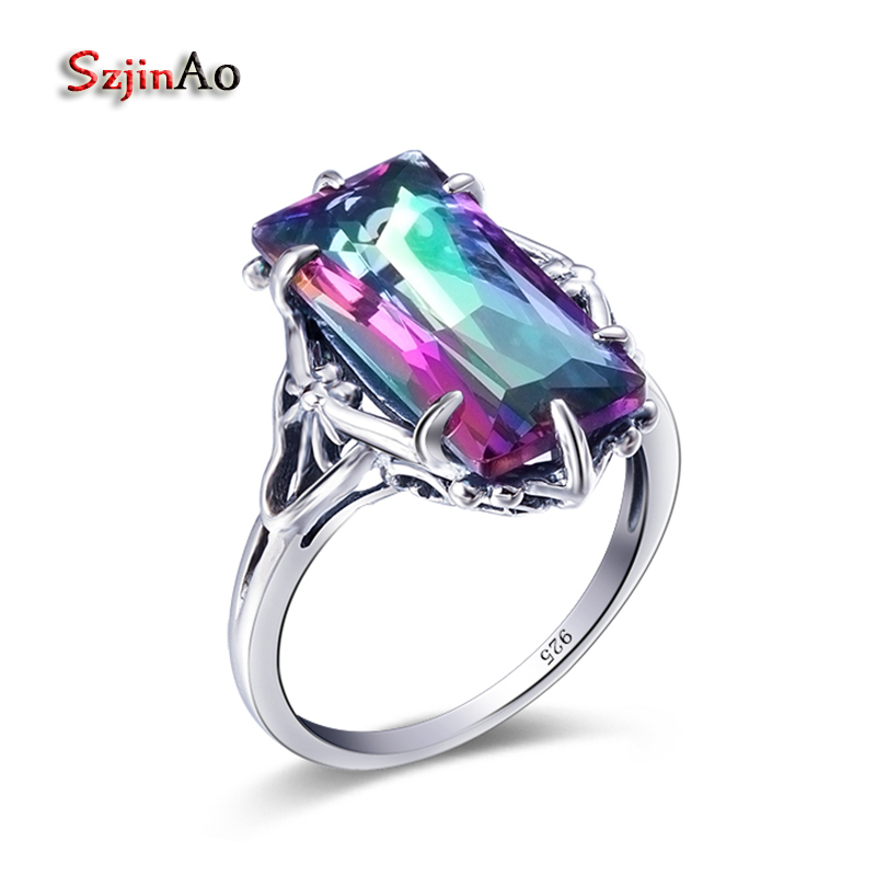 Szjinao 925 Sterling Silver Rings With Rainbow Topaz For Women Wedding Band Ring Set Forever Love Jewelry Gifts