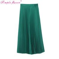 Vintage Dark Green High Waist Pleated Skirt 2019 Summer Korea Maxi Long Skirts Womens Jupe Longue Fashion Tutu Skirt Falda C3278