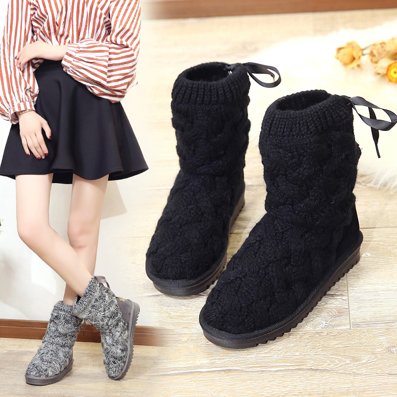 New warm wool boots HOT 2018 fashion casual simple Bow tie wool comfortable women's boots round toe boots gretel wool boots