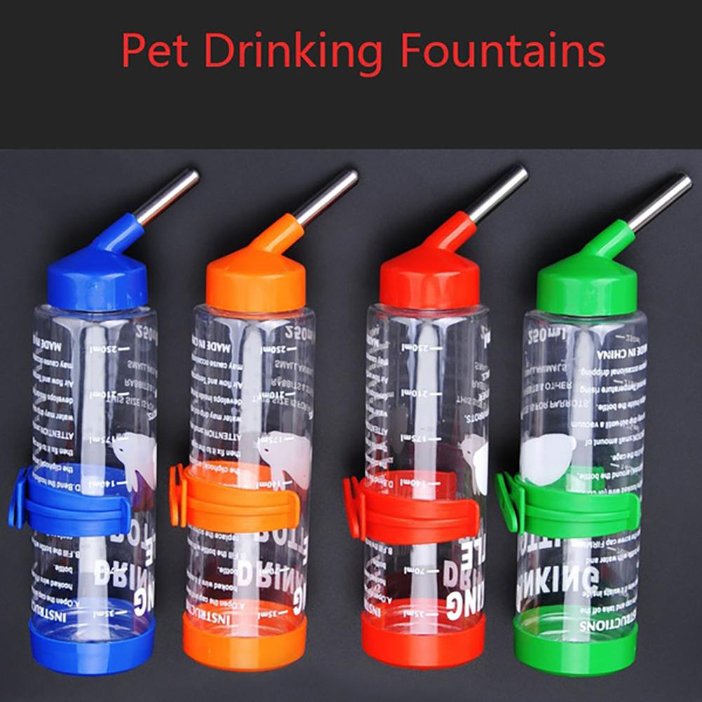 250ML Pet Drink Stainless Steel Automatic Water Fountain Bottle Rabbit Cat Dog Pets Hamster