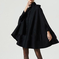 Gothic Women Wool Cape Coats Button Loose Casual Outerwear High Street Stylish Autumn Winter Warm Overcoat Female Black Top Coat