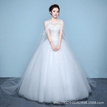 Lace Court Train Sleeve Wedding Dress Long Illusion Wedding Gown White Illusion Ball Gowns Bridal Dress Vestidos De Noiva T026