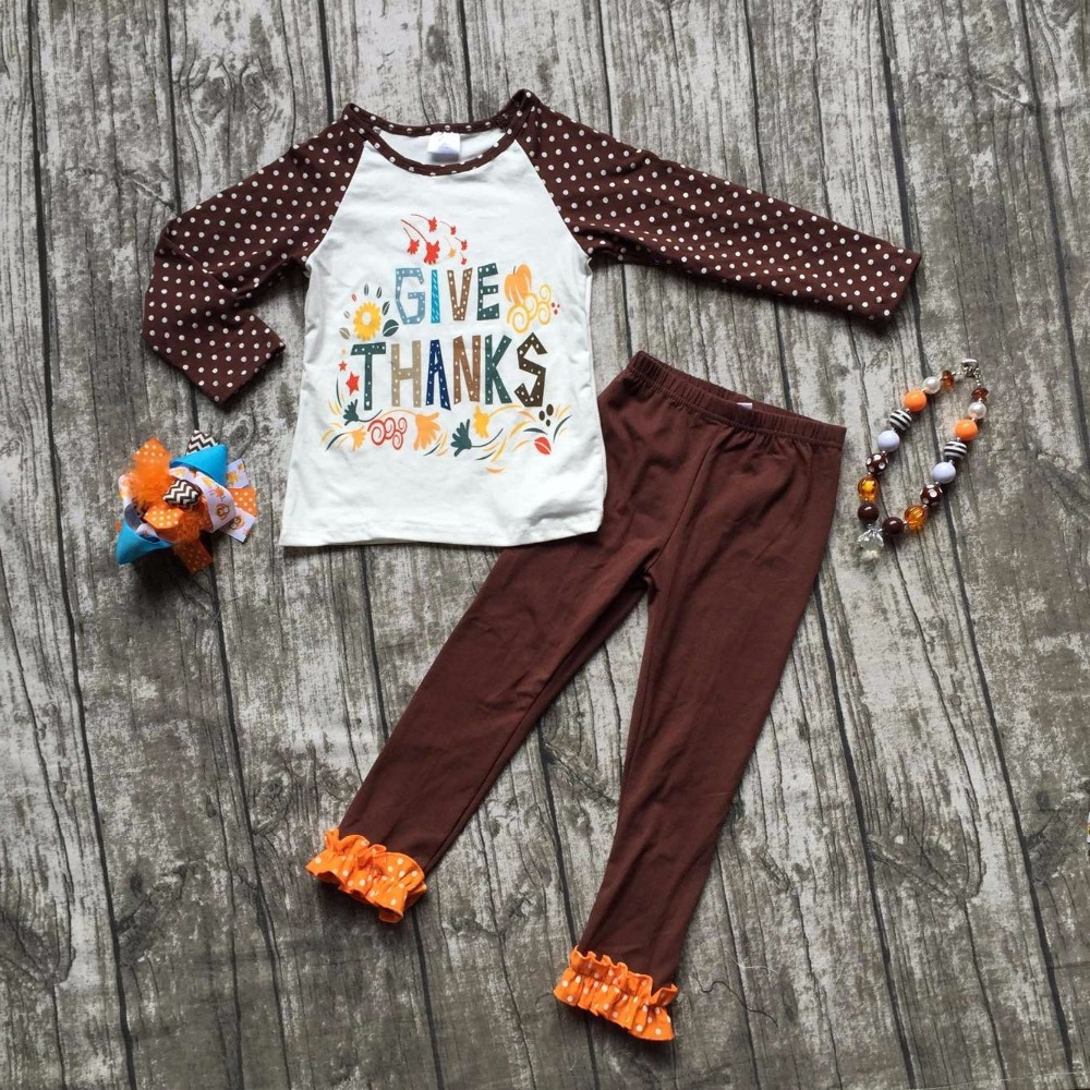 baby girls Fall/Winter thanksgiving clothing give thanks outfits cotton children brown top with polka dot pant with accessories frank buytendijk dealing with dilemmas where business analytics fall short