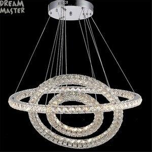 Image 2 - מודרני LED תליון נברשת אורות K9 קריסטל מעגל טבעת תליית מנורת דקו Luminaire בית ברק מנורת candelabro דה cristal