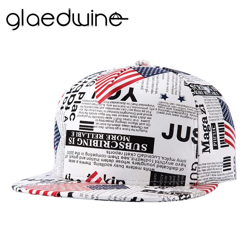 Glaedwine Faux Leather Gorras Hip Hop Snapback Hats American