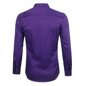 Image 3 - Paars Mannen Bamboevezel Jurk Shirt 2018 Gloednieuwe Slim Fit Lange Mouwen Chemise Homme Niet Ijzer Easy Care formele Shirt Voor Mannen