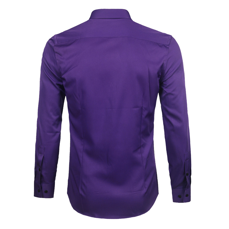 Image 2 - Purple Mens Bamboo Fiber Dress Shirt 2018 Brand New Slim Fit Long Sleeve Chemise Homme Non Iron Easy Care Formal Shirt For MenCasual Shirts   -