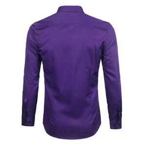 Image 3 - Purple Mens Bamboo Fiber Dress Shirt 2018 Brand New Slim Fit Long Sleeve Chemise Homme Non Iron Easy Care Formal Shirt For Men