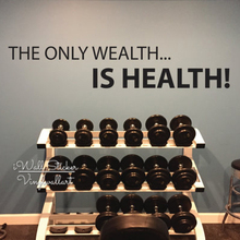 The Only Wealth Is Health Quote Wall Sticker Gym Stickers Inspirational Decal Motivational Cut Vinyl Q88