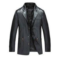 Hot Sale Men's Faux Leather Jacket Men Dress Suits Coat Brand Men Leather Bomber Jacket Blazers Veste Cuir Homme Leather Coat