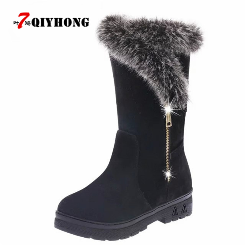 QIYHONG 2018 Fashion Women Snow Boots Suede Winter Fur Bling Shoes Plush Warm Ladies Winter Ankle Waterproof Zipper High Boots